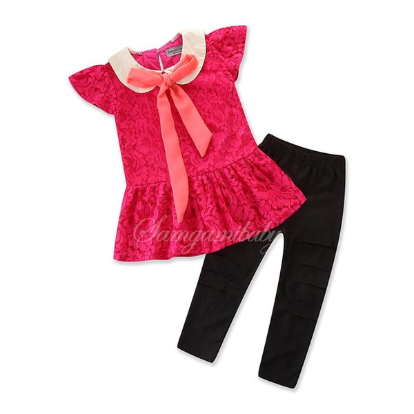 2019 new children's clothing baby girl suit summer sleeveless top + black pant two-piece suit children t shirt trousers 2pcs