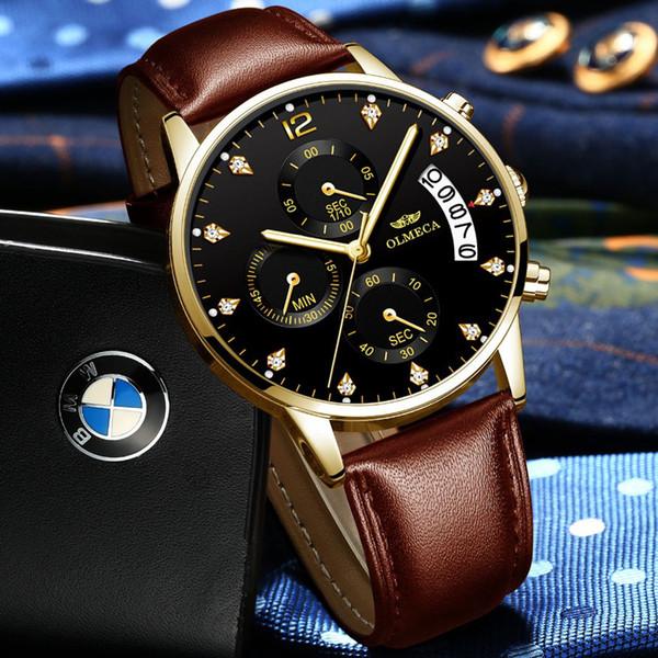 Mens Watches Top Brand Luxury Quartz Black Gold Watch Men Casual Leather Military Waterproof Sport Wrist Watch Relogio Masculino