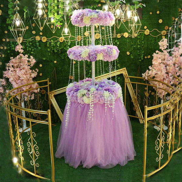 2019 Custom Artificial Flower With Three Tier Cake Stand Tower Wedding  Decor Stage Supplies Flower Row Cake Wall Welcome Area Layout From