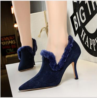 Han edition style autumn/winter fashion footwear glass with ultra suede pointed maomao deep opening single shoe