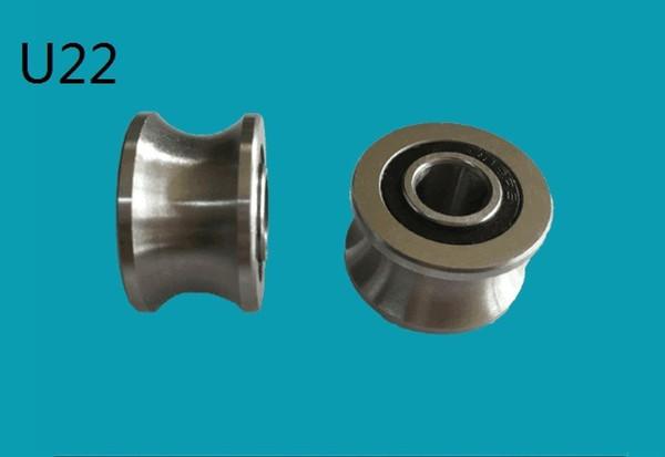 20pcs/lot U22 U groove pulley ball bearing U22 U groove roller wheel bearing 8*22.5*14.5*13.5mm