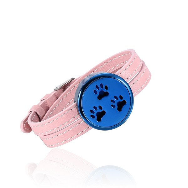 IJC004 Stainless Steel Pink Leather Strap Blue Dial Aromatherapy Bracelet Essential Oils Diffuser Perfume Free12 Pads Bracelet