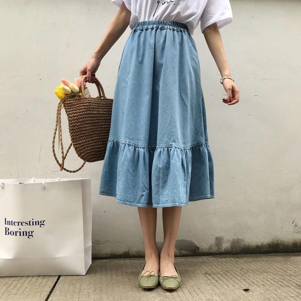 20bd5d99e0 Moda para mujer de Corea Sólido Cintura Elástica A-line Falda de Mezclilla  Falda Plisada
