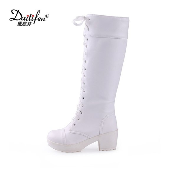 Fanyuan Spring White Black Platform Boot shoes women high heel Knee High Boots fashion Lace-up ladies Office/Party Knight Heels