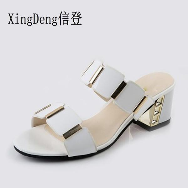 XingDeng Girl Summer Round Toe Sandals Women Gladiator Square Heel Slipper 35-43 Lady Fashion Elegant Opened Toe Slipper