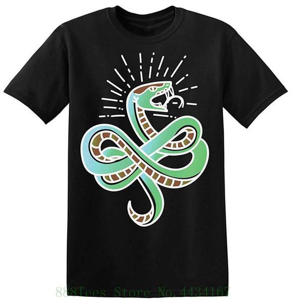En iyi Baskılar Uzun Ve Güzel Yeşil Yılan Isırmaya Hazır mı erkek T gömlek Moda 100% Pamuk T gömlek