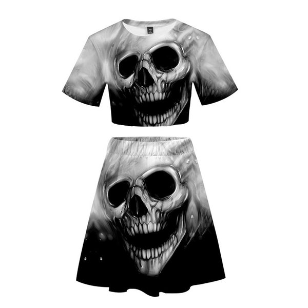 Summer 3D Skull Print Short Sleeve Crop Tops+Skirts Two Piece Sets For Party Club Free Shipping Casual Trendy Sexy Wear