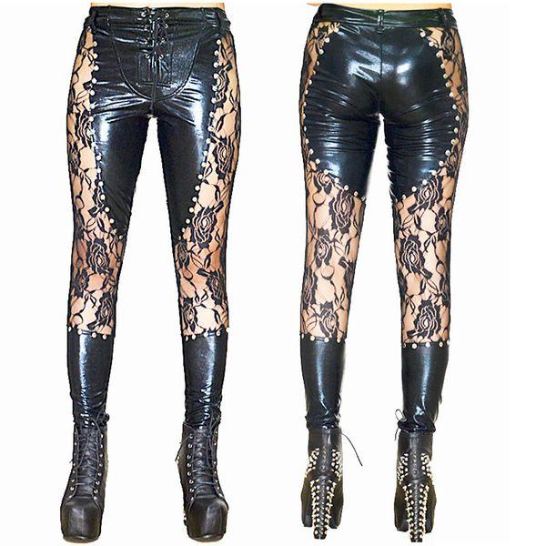 Black Sexy Latex Faux Leather Calças Mulheres Lace Up Calças Justas Leggings Clubwear Desgaste Fetiche Moda Calças Lingeries Sexuais