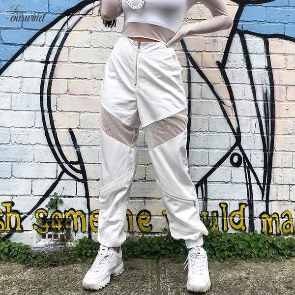 Patchwork Street Mesh-beiläufige Frauen Jogger Hosen Herbst 2019 Polyester Jogginghose Weiß Mode mit hoher Taille Zipper Baggy Pants
