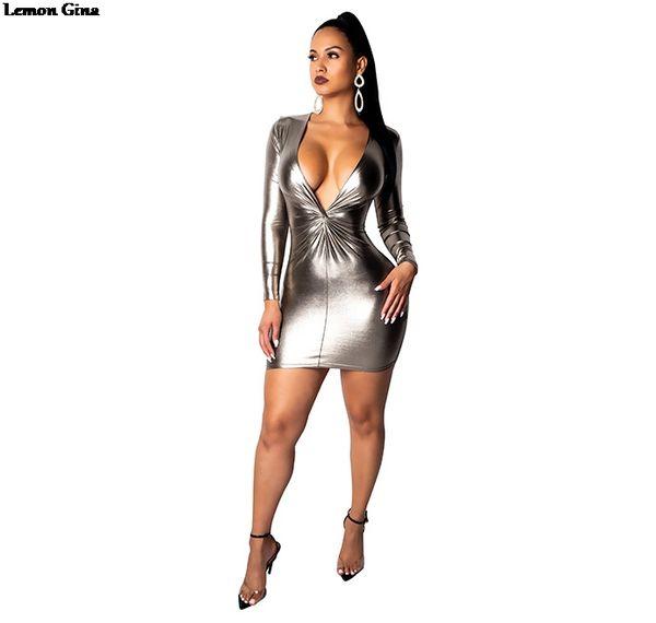 Lemon Gina 2019 mulheres faux couro brilhante profundo decote em v tie up manga comprida bodycon lápis midi mini dress vestidos s-2xl a7037