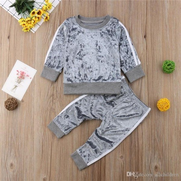 Korean Style Kids Baby Boys Girls Sports Sweatshirt Tops Long Pants Velvet Suit 2019 Autumn Spring Children Girls Outfits Set