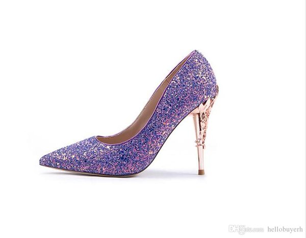 2019 New Summer Luxury High-heeled Sequins Wedding Shoes Party Prom Women Shoes Elegant Stilettos Pumps Girl Bridal Accessories Shoes