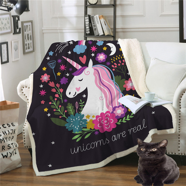 2 Size Comfy Soft Cartoon Unicorn Printing Velvet Plush Blanket Cute Printed Sherpa Blankets Lollipop Warm Blankets