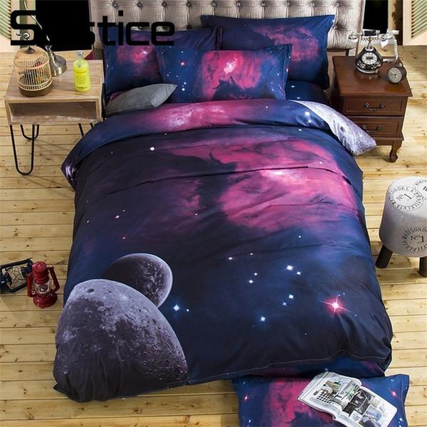 Solstizio Home Textile letto di Teenager Bambino biancheria 3D dell'universo dello spazio Borgogna Duvet copertura del cuscino delle donne Casi base piana Fogli