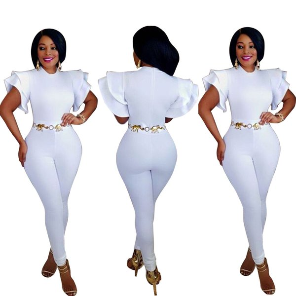 Europe and America Fashion Women White Jumpsuit Crew Neck Short Sleeve Slim Skinny Pants Rompers P133