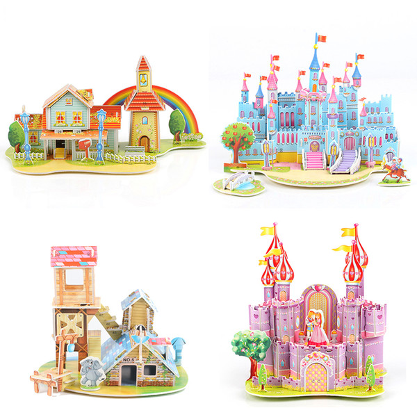 top popular DIY 3D Puzzle Kids Cartoon Castle House Tank Model Jigsaw Paper Building Toy for Children Early Educational Gift 2021