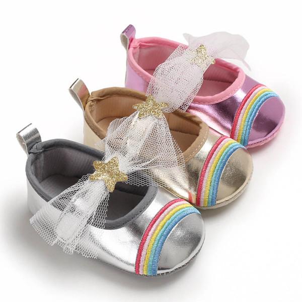 Ins rainbow baby shoes arcos bebê menina shoes princesa infantil shoes pu couro mocassins macio primeiro walker sapato criança sapato a6154