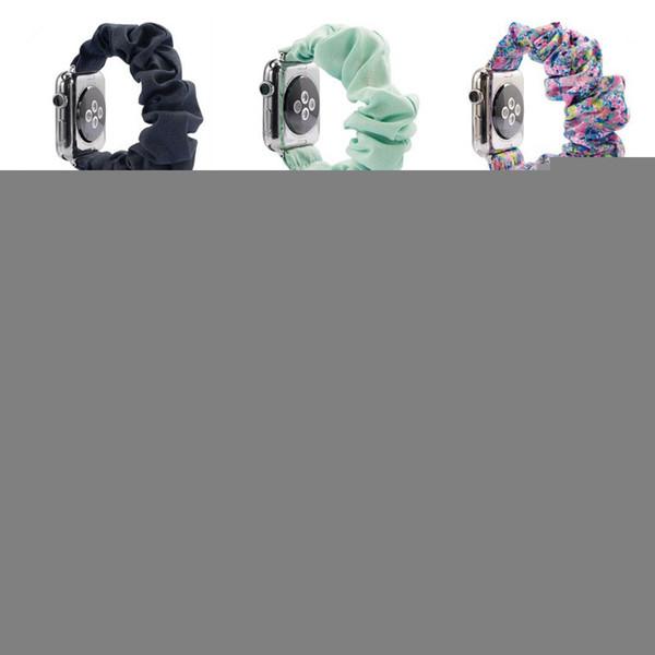 İzle Gruplar Elastik Baskılı Kumaş Watchband Scrunchies 39 Stil Glitter Kumaş Bilezikler Moda İzle Kayışlar sapanlar HHA995