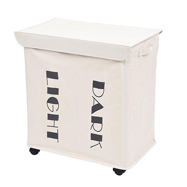 best selling 2 Section Laundry Basket Foldable Rolling Laundry Sorter Hamper Clothes Storage Basket Bin Organizer Bag