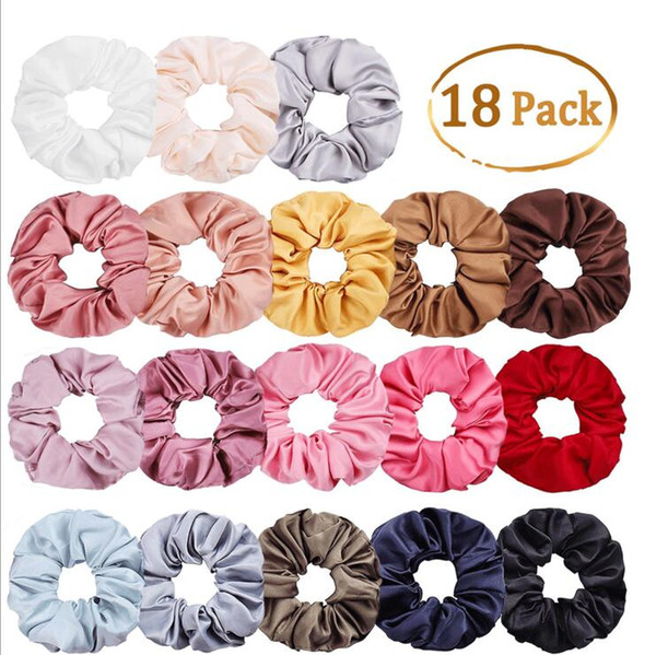best selling Satin Solid Hair Scrunchies Women Elastic Hair Bands Stretchy Scrunchie Girls Headwear Silky Loop Ponytail Holder 30 Colors
