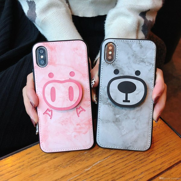 Venta al por mayor de Marble pocket piglet Shell Volver Casos para iPhone XS Max XS XR X 8 7 6 6 S Plus Funda Funda Cute Little bear casos con tarjeta de bolsillo