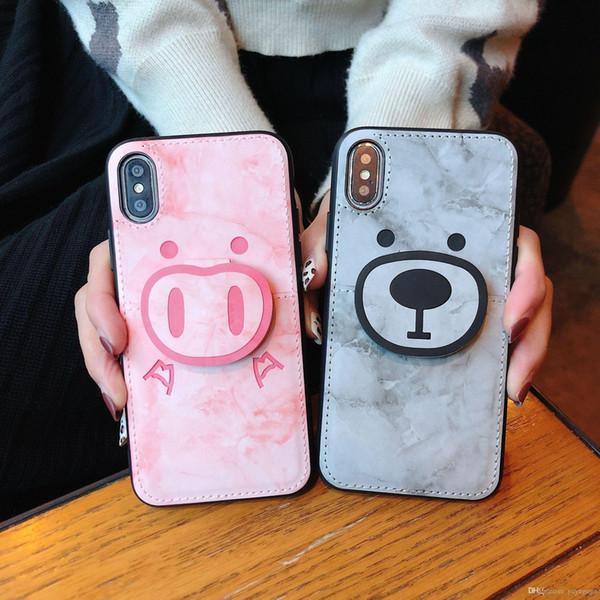 Caso di conchiglia di marmo all'ingrosso tasca posteriore per iPhone XS Max XS XR X 8 7 6 6S caso di copertura più carino casi di orso piccolo con scheda tasca