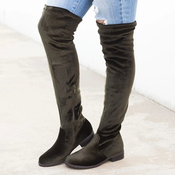 HEFLASHOR Slim Boots Sexy Over The Suede Women Snow Boots Women's Fashion Winter Thigh High Shoes Woman