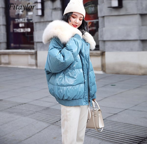 White Duck Down Parkas Winter Jacket Women Large Natural Fur Collar Bright Side Coat Female Loose Snow Outwear T191108
