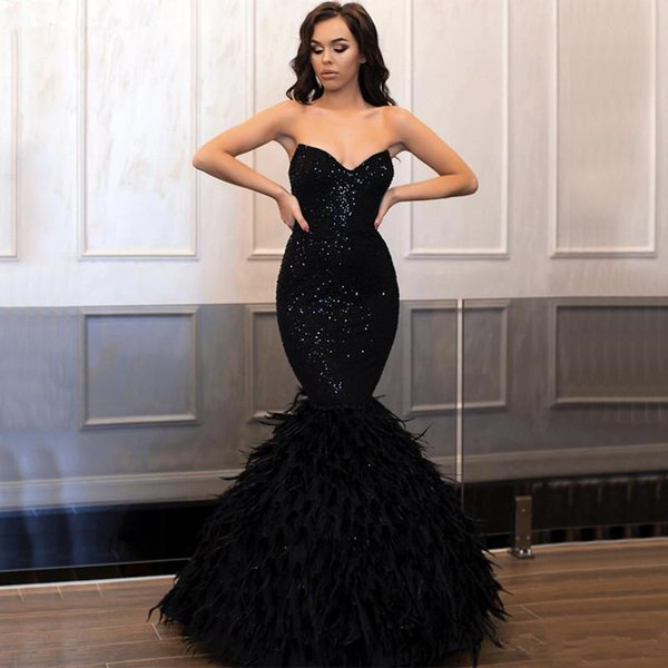 Luxury Feathers Long Black Mermaid Evening Dresses 2019 Sweetheart Zipper Sexy Back Sparkly Sequined Prom Gowns