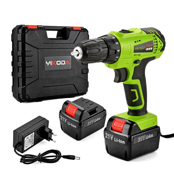 top popular 21V Cordless Drill Electric Screwdriver 2 Piece Rechargeable Lithium Battery Household Multi-function Power Tools Plastic Case 2021