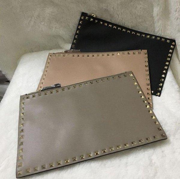 Designer Inspirado Sacos de rebite de Ouro Rebite Rockstyd Embreagem Sacos de noite Partido Envelope Sacos Cinza Rosa Cor Preta s378