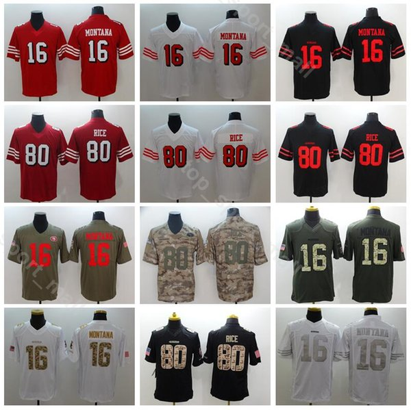 the best attitude e298b 70a3c 2019 San Francisco Football 49ers 16 Joe Montana Jersey Men 80 Jerry Rice  Uniform Salute To Service Vapor Untouchable Camo Red Black White From ...