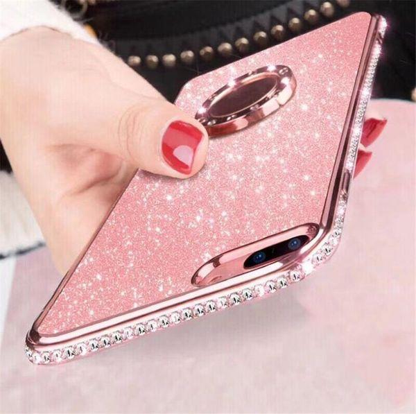 Moda kaplama elmas manyetik braket telefon kılıfı IÇIN: iphone Samsung 6 s 7 8 x xr xs max s8 s9 s10 artı lite