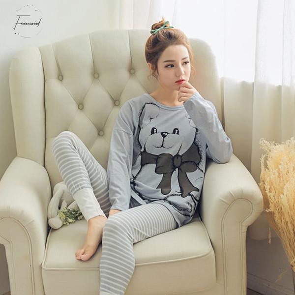 Vêtements de nuit pour femmes pyjamas Ensembles col rond Cartoon Kawaii Cartoon Totoro Nighty Femme Casual Été Automne Hiver pyjama