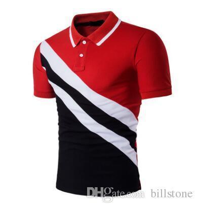 magliette del progettista degli uomini Magliette del polo degli uomini Magliette della squadra della manica del bicchierino del cliente del cotone di misura B67