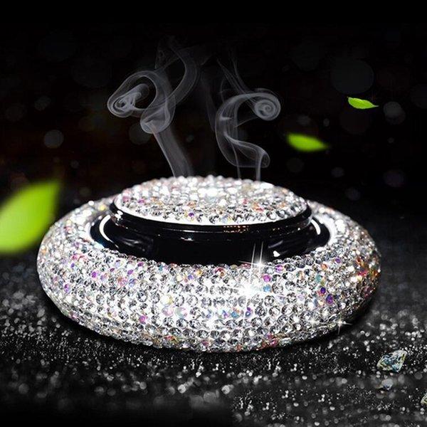 Car Styling coche ambientador de cristal de diamante platillo volante Decoración Adornos Perfumes Mujer Accesorios Solid