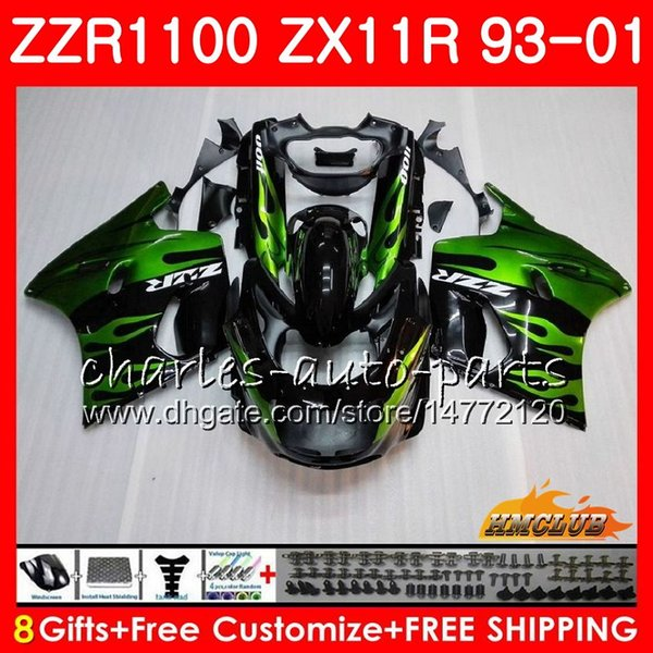 Corpo Para KAWASAKI NINJA ZX-11R ZZR1100 ZX11R 93 94 95 96 97 31HC.11 ZZR 1100 chamas verdes ZX 11R ZX11 R 1993 1998 1999 2000 2001 Carenagens
