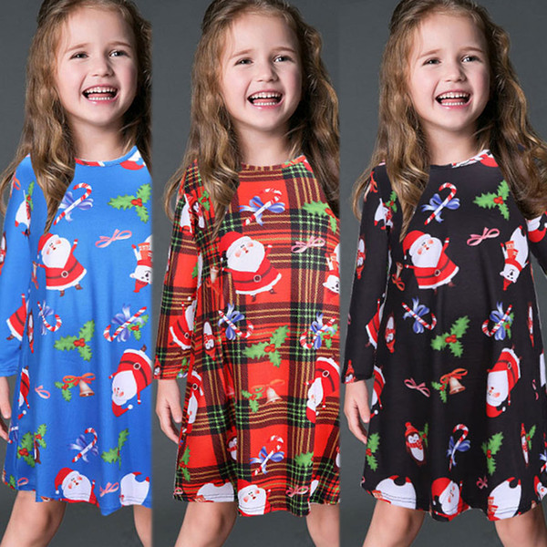 top popular Fashion kids design Dress Long Sleeve Santa Claus Dresses Gift Christmas Xmas Flared Dress for girls swing Casual Mini Dress 2020