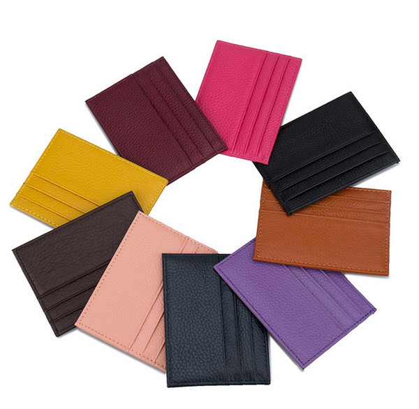 New Genuine leather mens&women short style designer card holders male super thin casual cow leather zero wallets