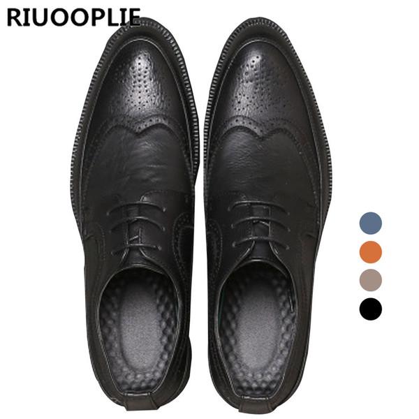 RIUOOPLIE Style britannique Hommes Confortable Tête Tranchante Lace Up Chaussures Habillées Décontractées