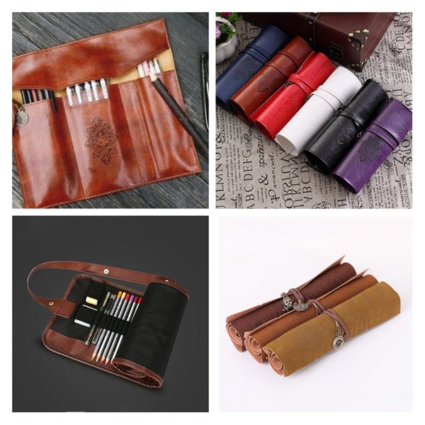 Peerless Vintage Retro Pencil Cases Luxury Roll Leather PU Pen Bag Pouch For Stationery School Supplies Make Up Cosmetic Bag