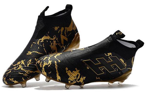 Ace 17+ Purecontrol Primeknit al aire libre Tacos de fútbol Tacos de tierra firme Entrenadores FG NSG Botas de fútbol para hombre Zapatos de fútbol Oro Negro