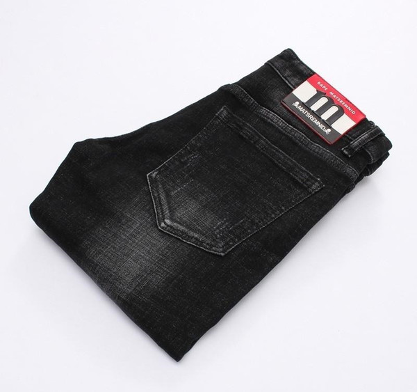 Alta calidad de los hombres Negro vaqueros de diseño delgado Pies micro-elástica Jeans Hombre 8915