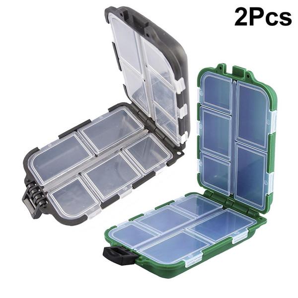 2 pz scatola esche da pesca scatola di immagazzinaggio esca pesca a mosca cucchiaio gancio esca scatola di attrezzi 10 compartme accessorio richiamo di plastica