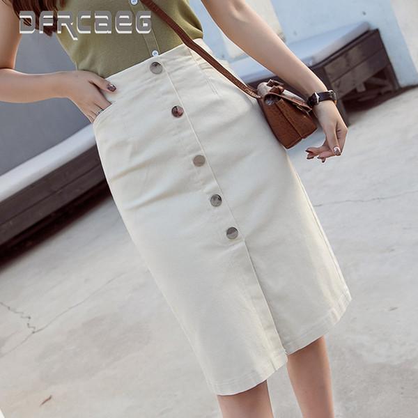Women Clothes 2019 Office Lady Pencil Skirt High Waist White Row Of Button Hipper Skirt High Elastic Korean Style Women J190619