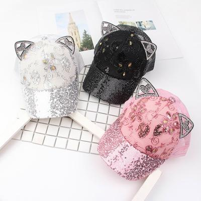 2019 Baby Summer Hat Bling Sequins Baby Hats Rabbit Ear Baseball Caps For Girls Mesh Sun Cap Kids Accessories Z11