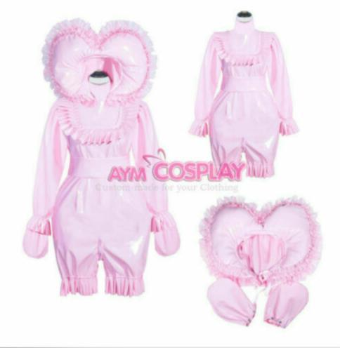 French lockable heavy PVC jumpsuits adult sissy baby Unisex cosplay costume Tail