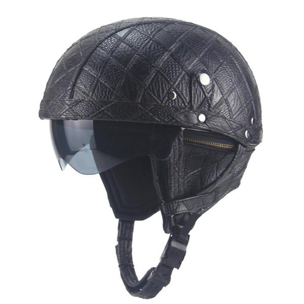 Men Women 56-61cm Leather Motorcycle Motorbike Helmet Motorcross Half Helmets for Harley Retro Helmet with Sun Shield