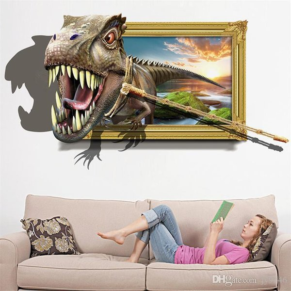 Hot Sale Capture the Dinosaur 3D Wall Sticker PVC Animal Wall Art Decal for Living Room Kids Room Decoration