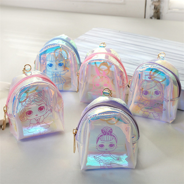 5 styles cartoon doll laser coin bag keyholder short mini wallet earphone change money bag Shell shape party favor kids gift pouch FJ297